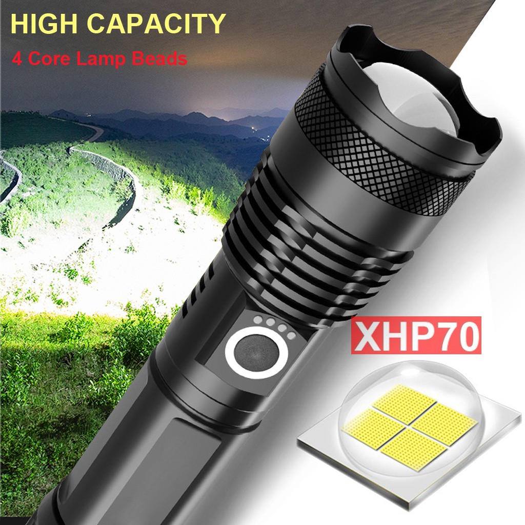 120000 Lumens XLamp XHP70.2 Most Powerful LED Flashlight USB Zoom Torch XHP70 XHP50 18650 26650 Rechargeable Battery Flashlight