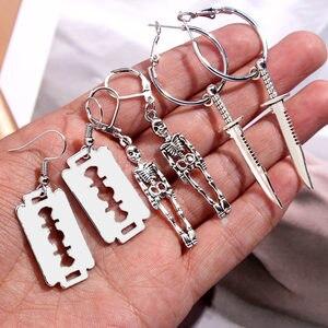 Flatfoosie 3Pair/Set Fashion Punk Skeleton Blade Drop Earrings Sliver Color Retro Small Dangle Earrings Sets Statement Jewelry