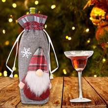 Cartoon Old Man Christmas Red Wine Bottle Cover Knitted Bag New Year Decor Christmas Gift Bag Santa Sack Xmas Decors(China)
