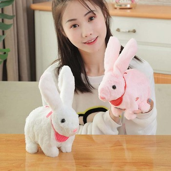 1 pcs Rabbit plush toy simulation electric cute doll doll trumpet moving little white rabbit girl birthday gift image