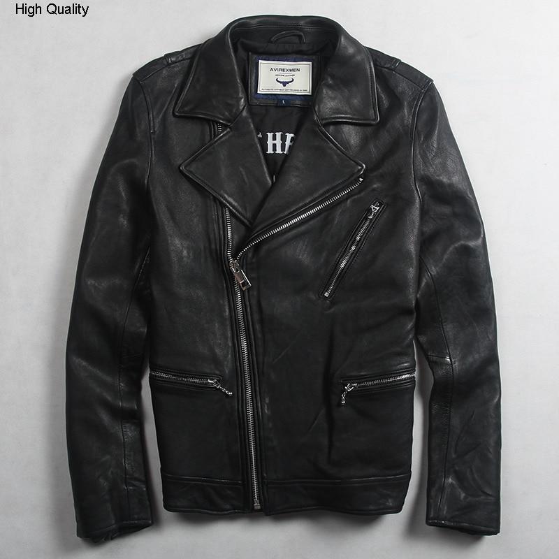 Avirexfly Men's Fashion Genuine Leather Jacket With Zipper Pockets Slim Fit Biker Jacket Men Black Real Leather Jacket For Men