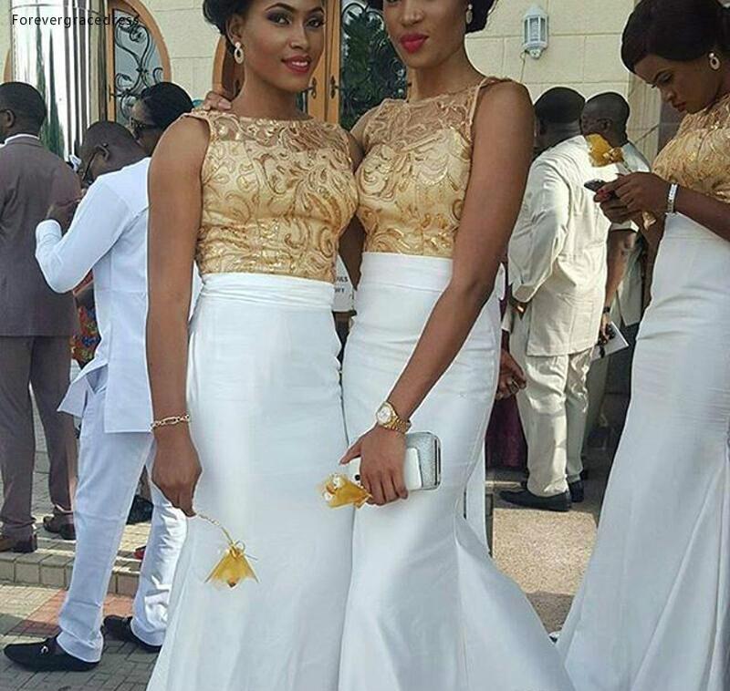 Robe de demoiselle d'honneur sirène africaine Applique en dentelle or jardin pays fête de mariage formelle invité demoiselle d'honneur robe grande taille