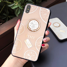 Fashion Bling Diamond Phone Case For iphone X XR XS Max 6 6S 8 7 Plus Glitter Time Designs Hard Back Cover Ring Stand Coque