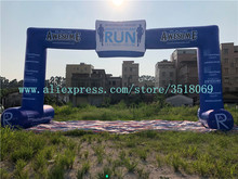 Blue 12m span 6m high Oxford inflatable arch, logo custom, customized for outdoor advertising campaigns.
