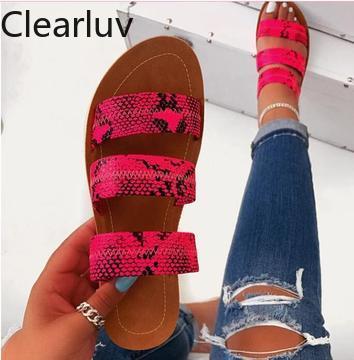 Women's Sandals Talons Transparents Leopard Sandals Snakeskin Flat Sandals Sandalen Damen Chaussures Femme Size 9.5 Womens Shoes