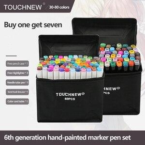 Маркеры TouchNEW, 30/40/60/80 цветов, маркеры для рисования манги, ручка на спиртовой основе, масляные наконечники, двойная кисть, товары для рукодели...