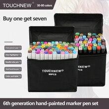 TouchNEW 30/40/60/80 컬러 마커 만화 드로잉 마커 펜 알코올 기반 스케치 펠트 팁 유성 트윈 브러쉬 펜 아트 용품