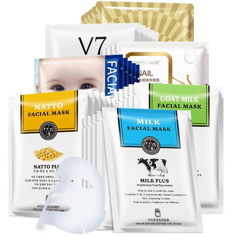 Hyaluronic Acid Face Masks Acne Milk Snail Mask For Face Horse Oil Whitening Moisturizing Mascara Facial Skin Care Oil-control
