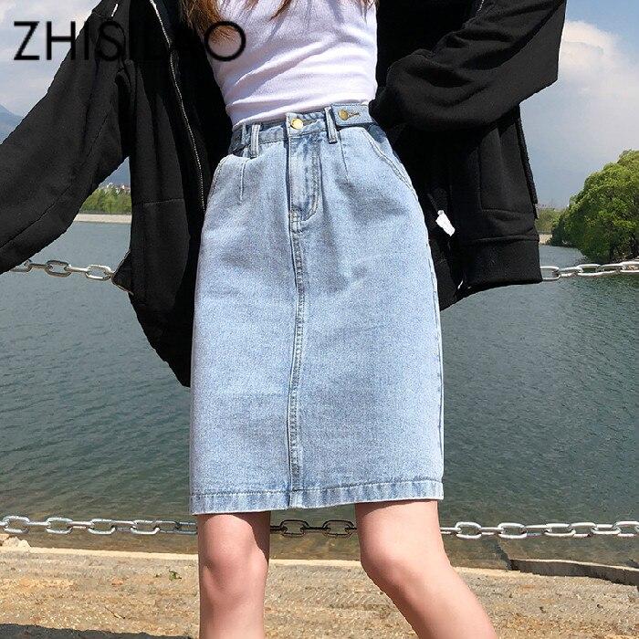 Женская джинсовая юбка трапециевидной формы с высокой талией, винтажная свободная джинсовая юбка размера плюс, летняя прямая юбка карандаш 2020 белого и черного цвета|Юбки|   | АлиЭкспресс