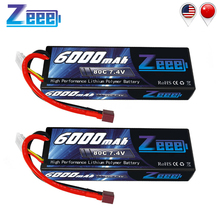 2units Zeee RC LiPo Battery 6000mAh 2S 80C 7.4V with Deans T Plug for Car Vehicle Truck Tank Losi Traxxas Slash Truggy
