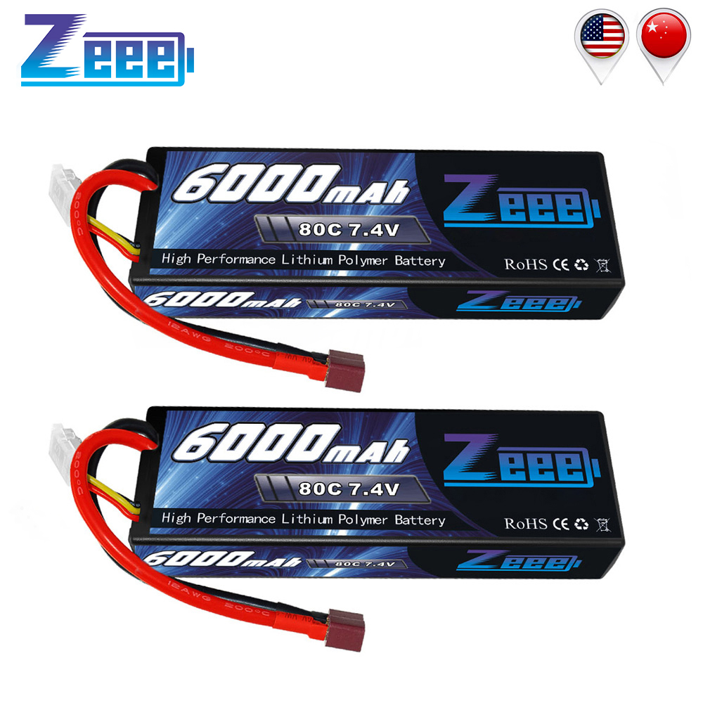 2units Zeee RC LiPo Battery 6000mAh 2S 80C LiPo 7.4V with Deans T Plug for RC Car Vehicle Truck Tank Losi Traxxas Slash Truggy image