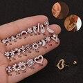 Серьги-гвоздики 1 шт./лот из золотистой нержавеющей стали с кристаллами циркония звезда Daith хрящевая спираль с винтом назад серьги-гвоздики