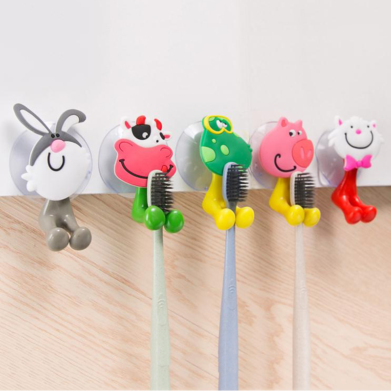 Bathroom Organizer Rack Cute Animal Cartoon Design Multifunction Strong Wall Suction Toothbrush Holder Bathroom Storage Shelf image