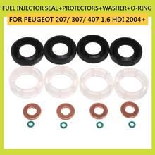 Автомобильный набор из 16 предметов, уплотнение топливной форсунки+ Защитные пленки+ шайба+ O-RING для PEUGEOT 207/307/407 1,6 HDI 2004 автомобиля 198299