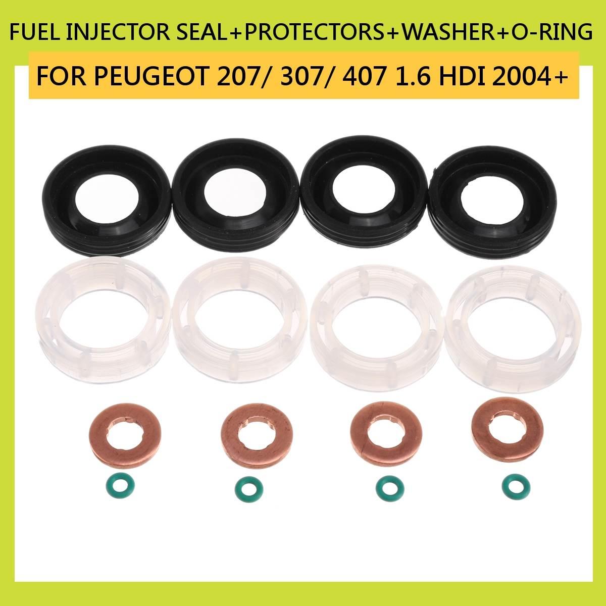 Voiture 16 pièces carburant injecteur joint + protecteurs + rondelle + O-RING pour PEUGEOT 207/307/407 1.6 HDI 2004 voiture 198299