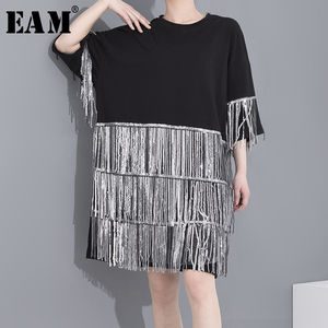 [EAM] Women Rhinestone Tassels Big Size Dress New Round Neck Three-quarter Sleeve Loose Fit Fashion Spring Summer 2020 1T97001
