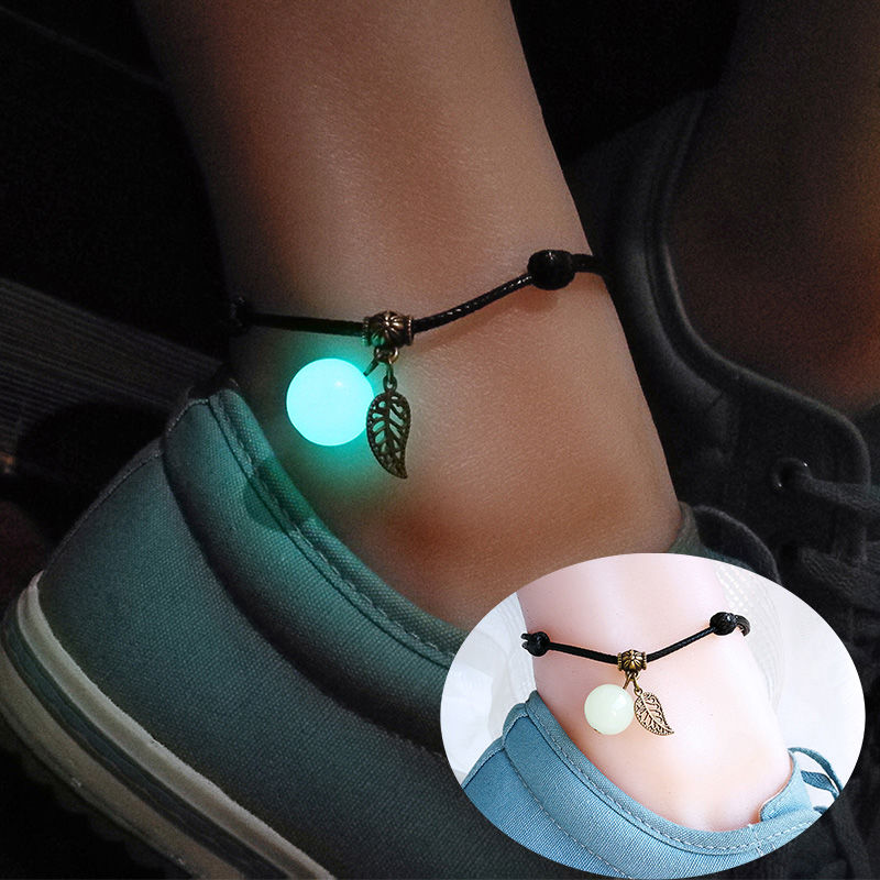 JUYA Simple Luminous Bead Ankle Chain Pendant Anklet Beaded Summer Beach Foot Jewelry Fashion Style Anklets for Women