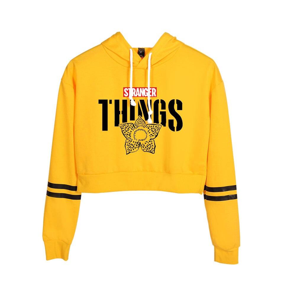 Hot Print Stranger Things Hoodie Sweashirt Crop Top Shirt Harajuku Hoodie Hip Hop Tee Shirt Woman Casual Hoodies Clothing
