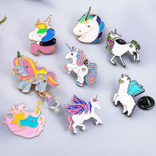 Belle arc-en-ciel licorne Badge broche pour filles enfants vêtements sac à dos chaussures chapeaux décor Pendats coloré alliage licorne broche Badge(China)