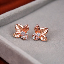 Dainty Female White Round Crystal Earrings Cute Rose Gold Small Stud Earrings For Women Elegant Bridal Leaf Wedding Earring gold round leaf earrings