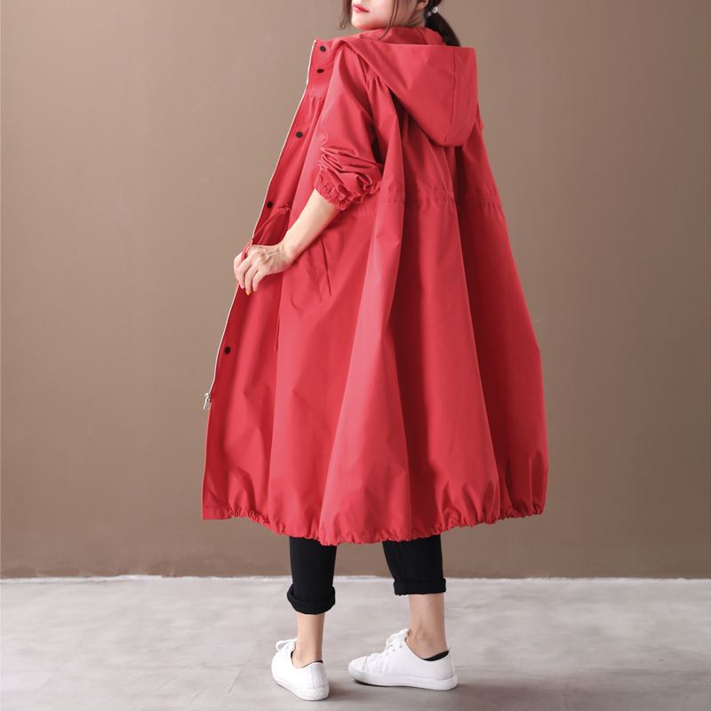 Female new autumn and spring korean style plus size literary solid color drawstring pleated hooded long loose   trench