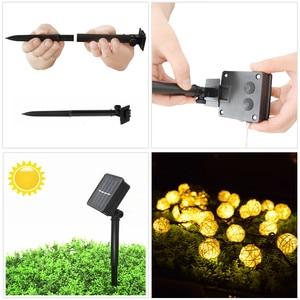 Image 5 - Ousam LED Solar Light String Rattan Ball 6 Meters 30 LED Solar Lamp Garland Fairy String Lights For Christmas Garden Decoration