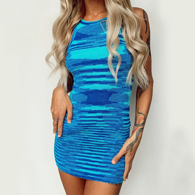 2021 Blue Knitted Cotton Mini Dress Women Off Shoulder O Neck Sexy Beach Vintage Party Y2K Summer Casual Bodycon Dresses Holiday 3