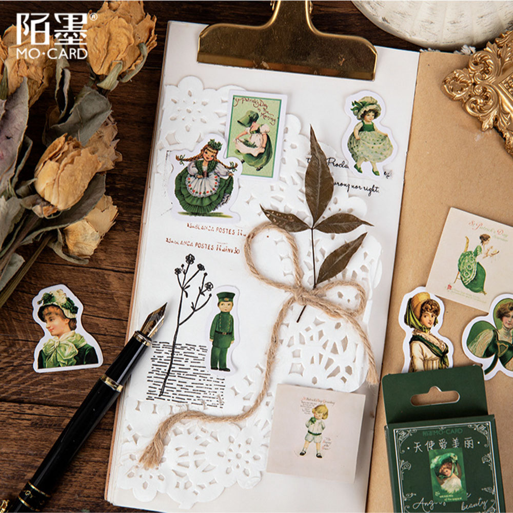 Купить с кэшбэком 45pcs/box Beauty Angel Stickers Decorative Stationery Stickers Scrapbooking Diy Diary Album Stick