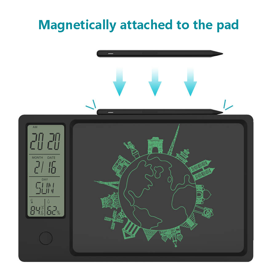 2021 New 10 Inch Clock Calendar LCD Writing Tablet Electronic Digital Graphic Drawing Weather Pad Temperature Humidity Display