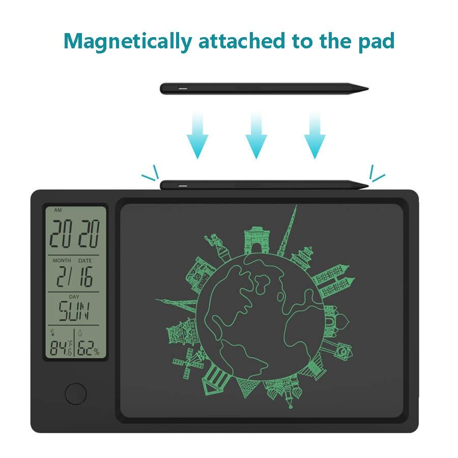 2021 novo 10 Polegada relógio calendário lcd escrita tablet eletrônico digital gráfico de desenho almofada do tempo temperatura umidade display