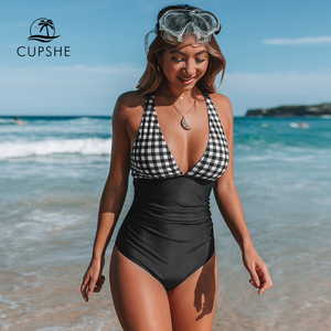 CUPSHE Black And White Gingham Ruched One-Piece Swimsuit Women Sexy Back Cross Monokini 2020 Girl Beach Bathing Suits(China)
