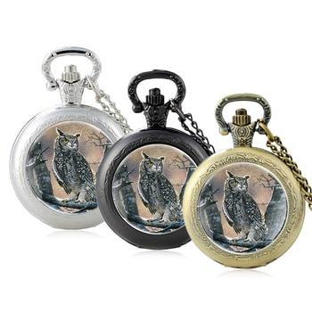 2020 New Arrivals Owl Glass Cabochon Quartz Pocket Watch Vintage Men Women Black Pendant Necklace Chain Hours Clock new arrive sliver chain necklace michael jackson glass pendant statement cabochon necklace men women jewelry gifts