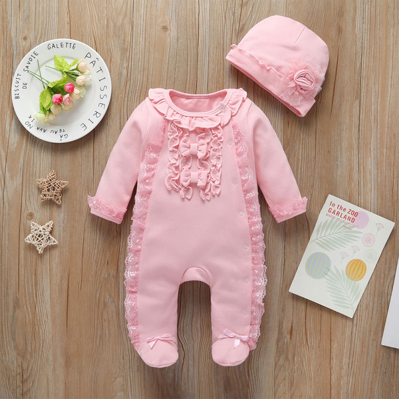 2pcs Baby Girl Rompers Set With Hat Newborn Girls Clothes Cotton Pajamas Long Sheeve Baby Infant Clothing Set