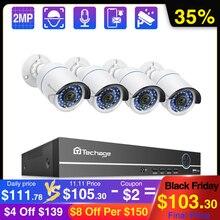 Techage 4CH 1080P POE NVR Camera System 2MP registrazione Audio PoE IP Camera CCTV Video Kit di sorveglianza di sicurezza esterna impermeabile