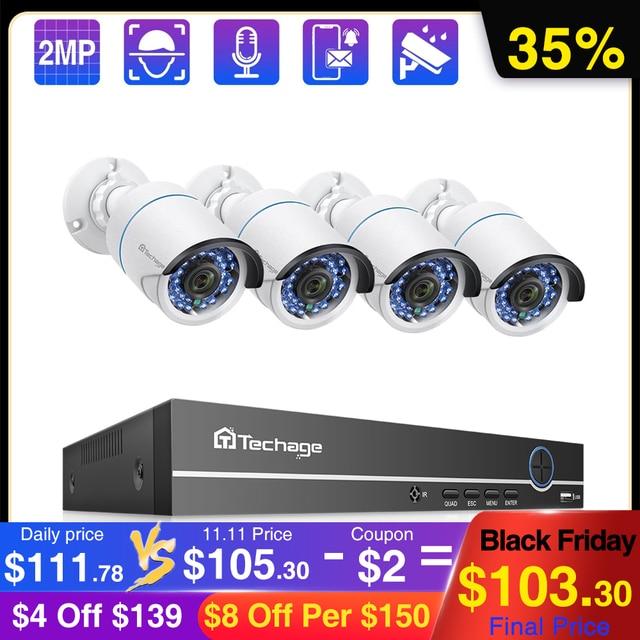 Techage 4CH 1080P POE NVR Hệ Thống Camera 2MP Âm Thanh Ghi PoE IP Camera Quan Sát Video Chống Nước Ngoài Trời Giám Sát An Ninh bộ