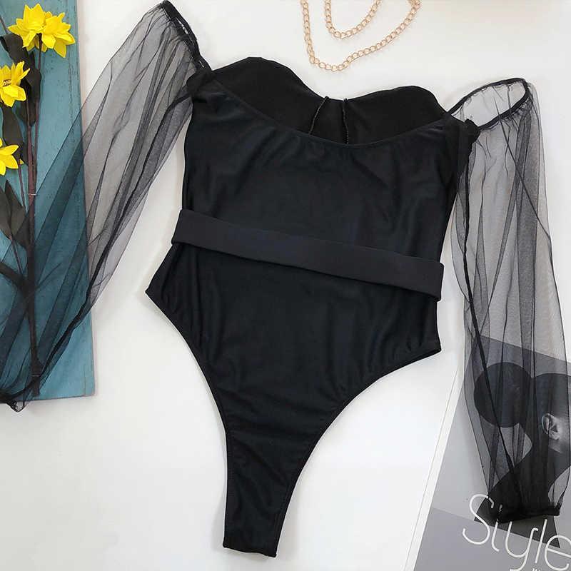 บิกินี่บราซิล 2020 ทองตาข่ายชุดว่ายน้ำแขนยาวผู้หญิงโปร่งใส bodysuits one-piece ชุดว่ายน้ำหญิงเข็มขัด Monokini