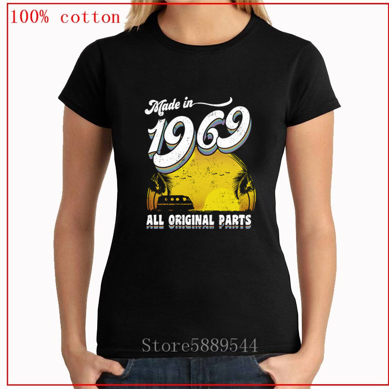Made in 1969 All Original Parts 49th Birth T Shirt Women T-shirt Feminism Graphic Tshirt Korea Style Top Tee Female image