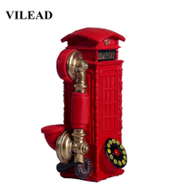 VILEAD 21cm Resin Telephone Booth Figurines Creative European Call Box Piggy Bank Decoration Hogar Handmade Crafts Vintage Gifts
