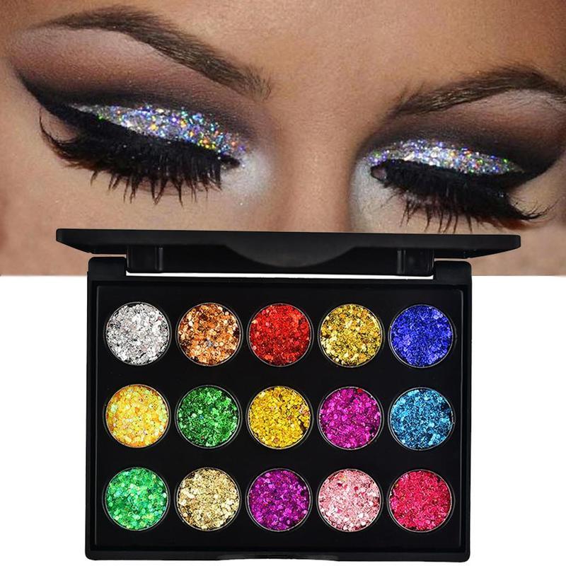 15 Color Eyeshadow Diamond Glitter Eye Shadow Pallete Professional Eye Makeup Shimmer Lasting Waterproof High Gloss Eye Shadow