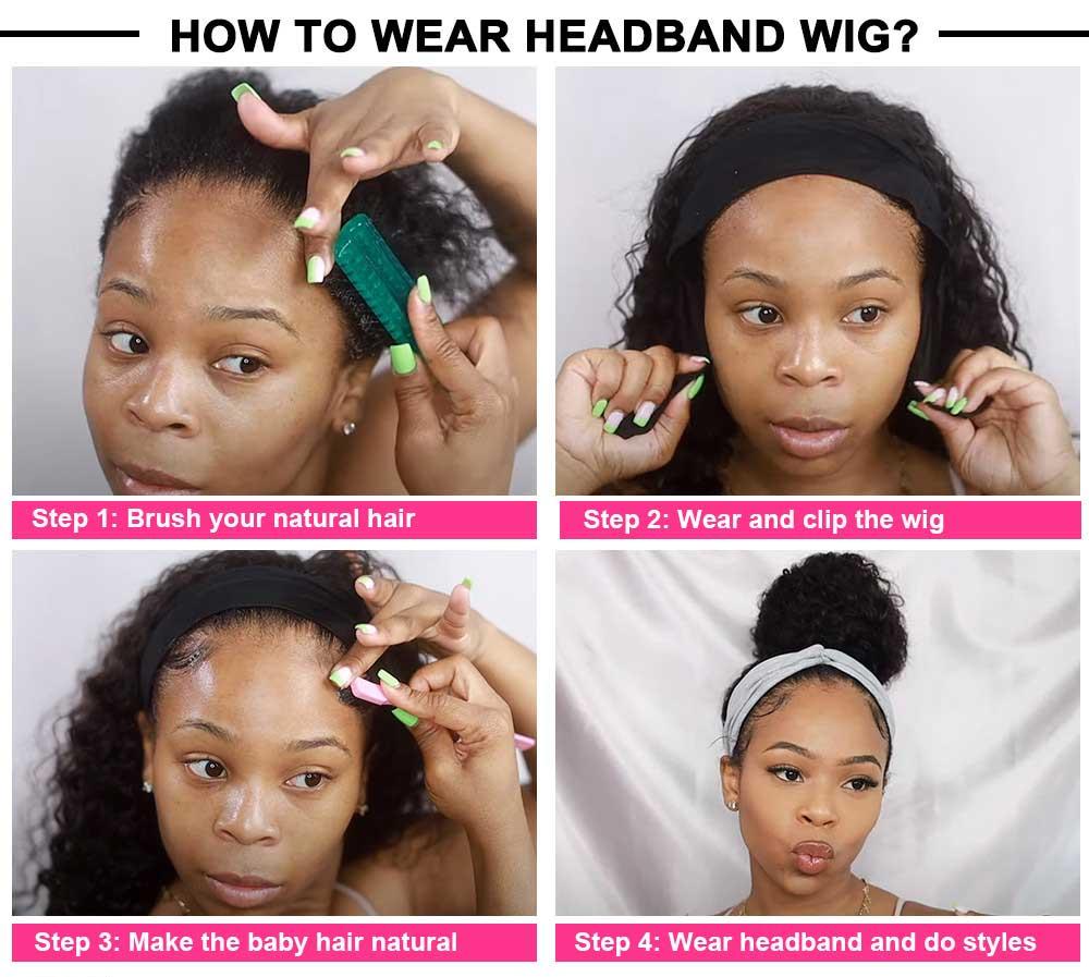 Beaudiva Curly Hair Headband Wig  Easy Half Wig  Kinky Curly Hair Headband Wig Natural Hair Full Machine Wig 5