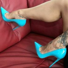 Moraima Snc Sky Blue patent Leather high heel shoes Pointed