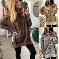 Вязаный Леопардовый свитер с круглым вырезом  женские свободные вязаные топы  осенне-зимний модный пуловер с длинным рукавом и принтом  Дже...