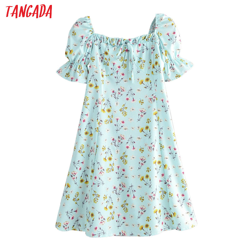 Tangada Fashion Women Floral Print Green Summer Dress Short Sleeve Ladies Beach Mini Dress Vestidos 2F35