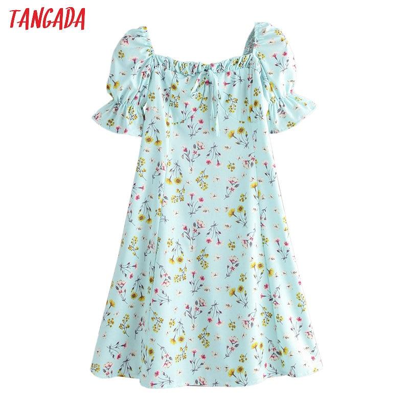Tangada Fashion Women Floral Print Green Summer Dress Short Sleeve Ladies Beach Mini Dress Vestidos 2F35