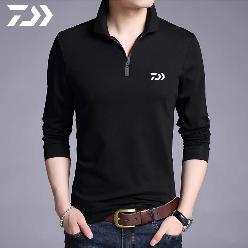 Daiwa Fishing Clothing Long Sleeve T Shirts Spring Autumn Breathable Fishing Shirts Polo Shirt Men Casual Sport Zipper Outdoor