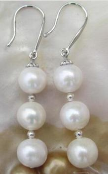 free shipping>>>>noble jewelry Round Dangle White Australia South Sea Pearl Earrings 14K Gold