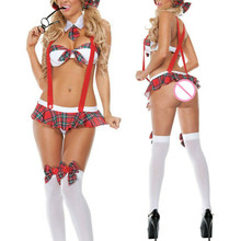 Горячая Распродажа Высококачественная пикантная школьница на бретелях униформа сексуальное женское белье Хэллоуин косплей фантазии платье ролевые игры