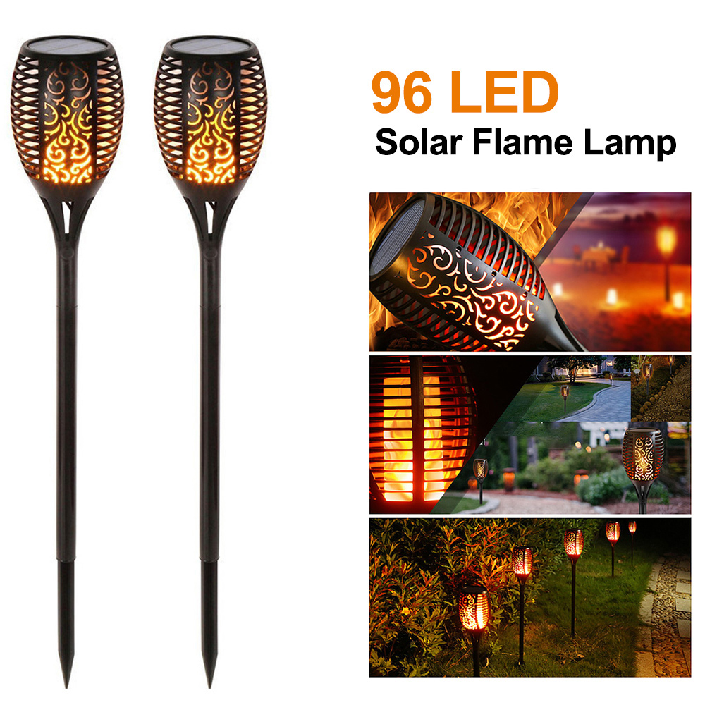 1/2PCS 96 LED Solar Flame Lamp Quality Landscape Light Garden Path Lighting IP65 Waterproof For Garden Landscape Decor
