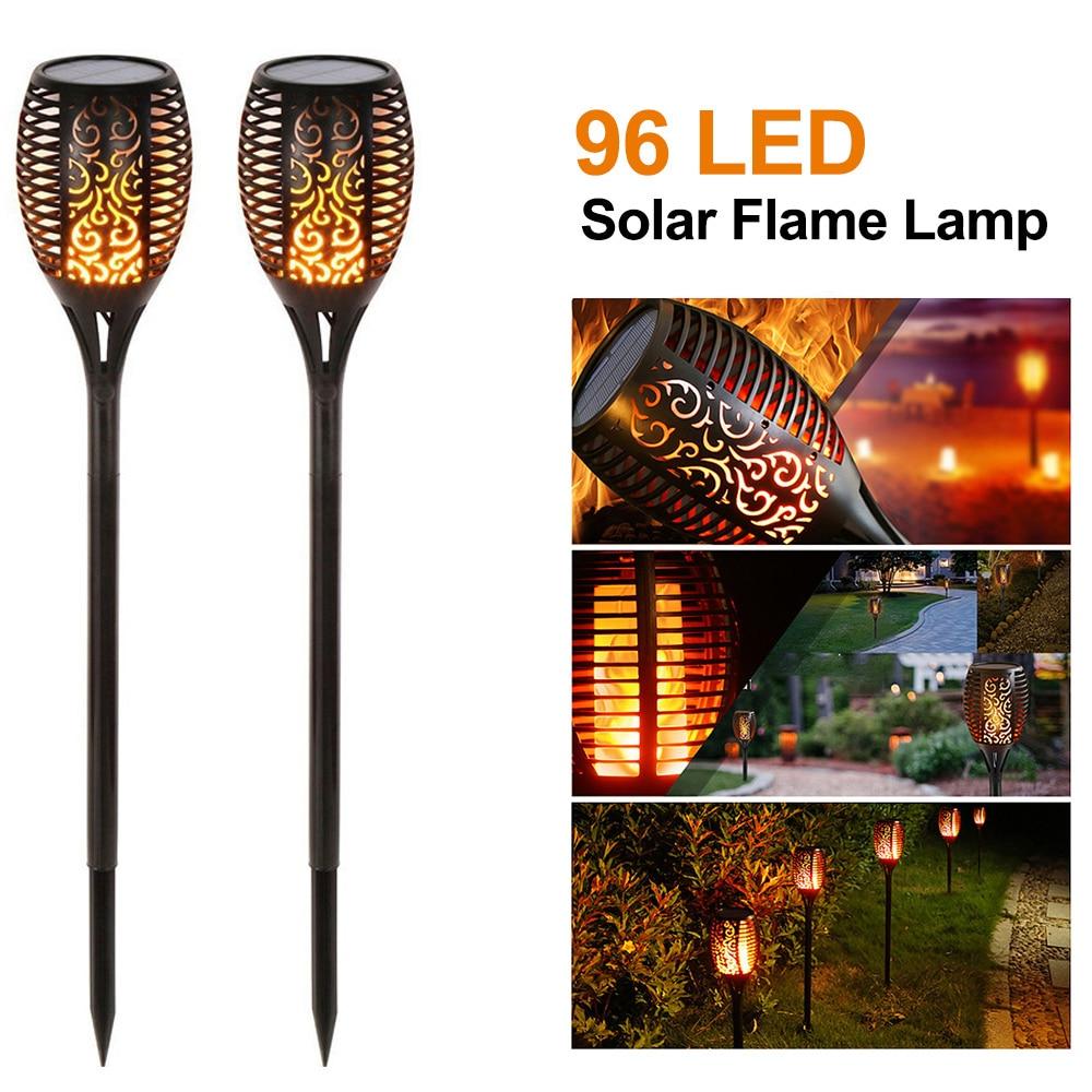 1/2PCS 96 LED Solar Flame Lamp Quality Landscape Light Garden Path Lighting IP65 Waterproof For Garden Landscape Decor