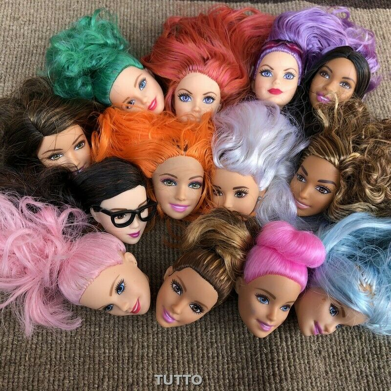 3pcs Fashion Doll Head With Black Brown White Flat Hair DIY Dressing Princess Toy Doll Heads Gift Random